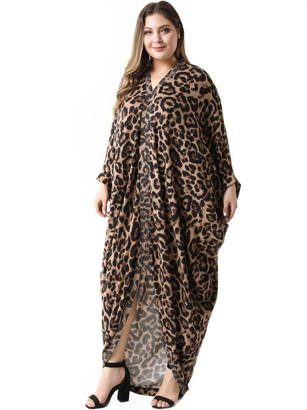 Elegant V Neck Long Sleeve Irregular Split Leopard African Maxi Dress dress
