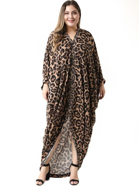 Elegant V Neck Long Sleeve Irregular Split Leopard African Maxi Dress dress Multi 5XL