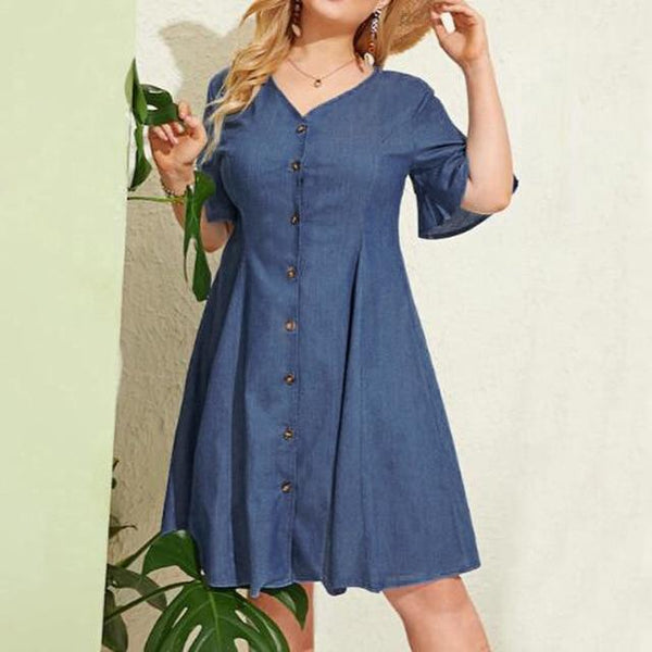 Elegant V-Neck Loose Denim Dress dress Light Blue XXL