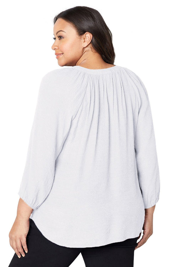 Embroidered Stripe Plus Size Peasant Top Tops
