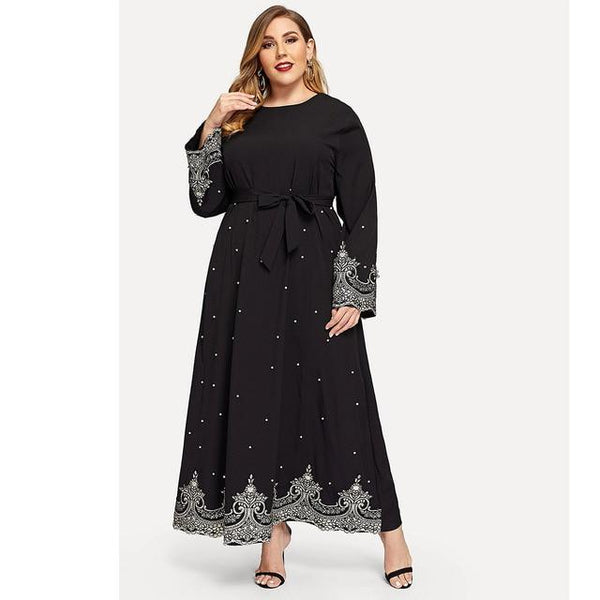 Embroidery Beaded Long Sleeve Dress dress Black XL