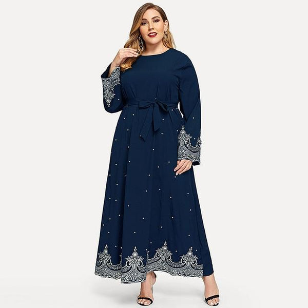 Embroidery Beaded Long Sleeve Dress dress Blue 5XL