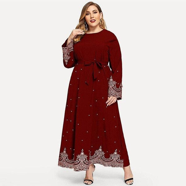 Embroidery Beaded Long Sleeve Dress dress Red XXXL