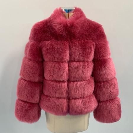 Fashion Luxury Faux Fox Coat Coats & Jackets Dark pink S