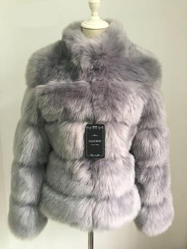 Fashion Luxury Faux Fox Coat Coats & Jackets Grey S