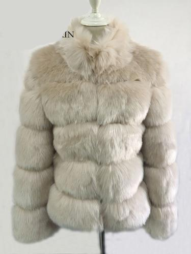 Fashion Luxury Faux Fox Coat Coats & Jackets Khaki S