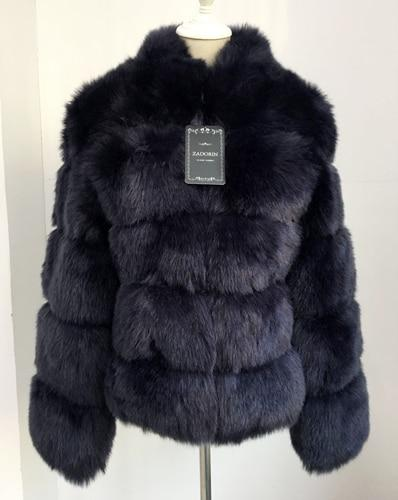 Fashion Luxury Faux Fox Coat Coats & Jackets Navy blue S