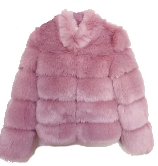 Fashion Luxury Faux Fox Coat Coats & Jackets Pink L