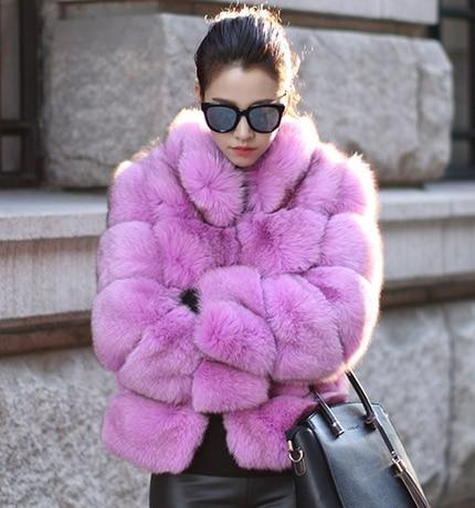 Fashion Luxury Faux Fox Coat Coats & Jackets Purple S