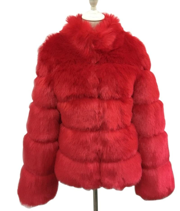 Fashion Luxury Faux Fox Coat Coats & Jackets Red S