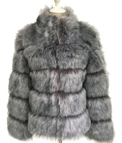Fashion Luxury Faux Fox Coat Coats & Jackets Silver fox color S