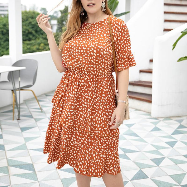 Fashion O Neck Short Sleeve Dot Print Ruffles Boho Dress dress
