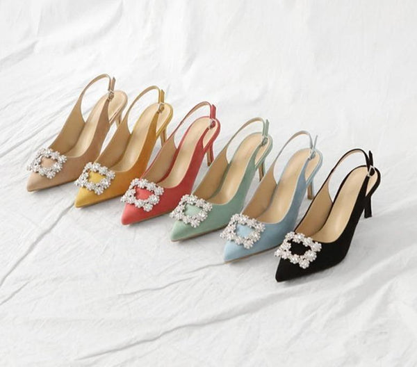 Fashion Rhinestone High Heel Leather Shoes