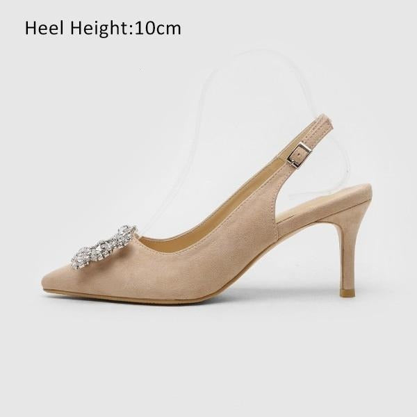 Fashion Rhinestone High Heel Leather Shoes shoes Beigh Shoes 10cm 7.5