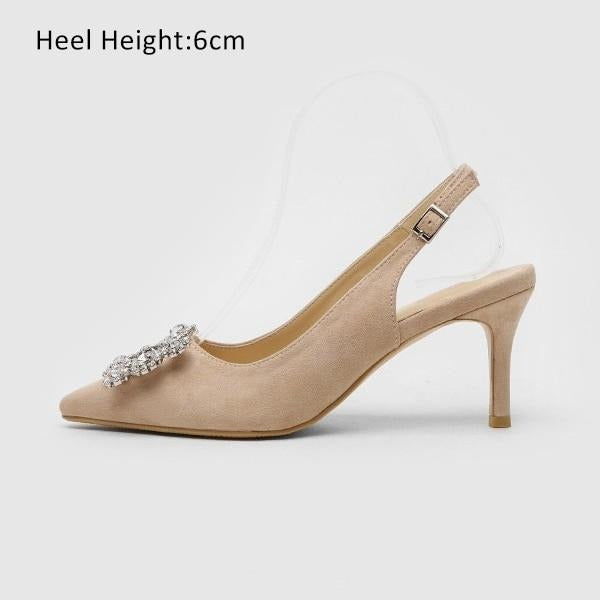 Fashion Rhinestone High Heel Leather Shoes shoes Beigh Shoes 6cm 4