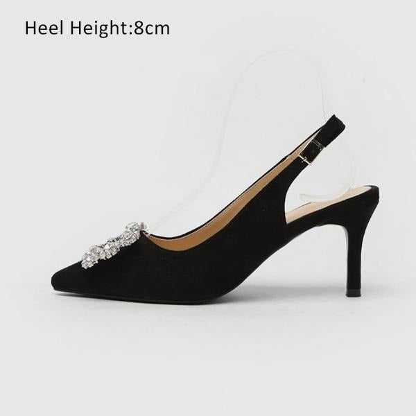 Fashion Rhinestone High Heel Leather Shoes shoes Black Shoes 8cm 7.5