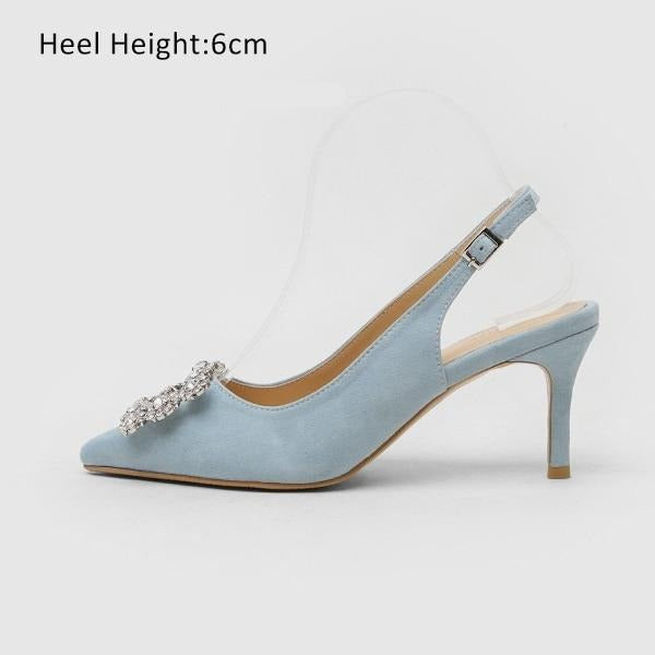 Fashion Rhinestone High Heel Leather Shoes shoes Blue Shoes 6cm 7.5