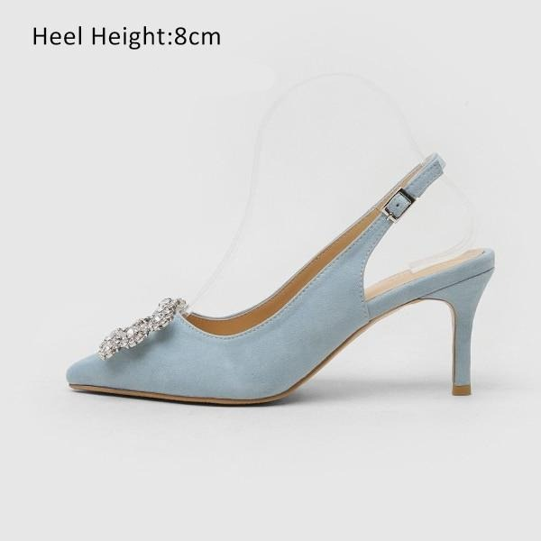 Fashion Rhinestone High Heel Leather Shoes shoes Blue Shoes 8cm 4