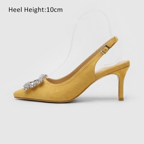 Fashion Rhinestone High Heel Leather Shoes shoes Yellow Shoes 10cm 7.5