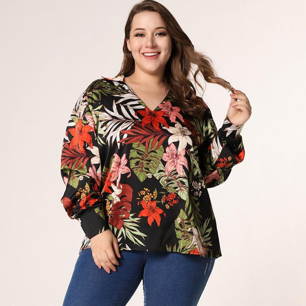 Fashion Summer V Neck Long Sleeve Floral Blouse dress