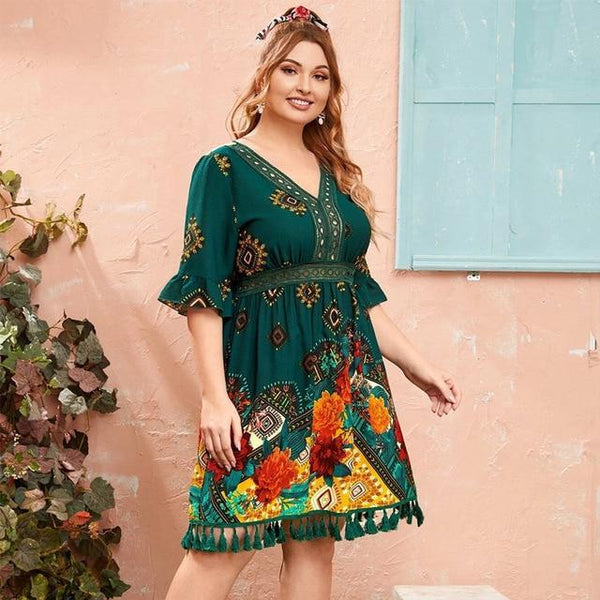 Fashion Summer V Neck Short Sleeve Floral Print Tassel Beach dress green XL