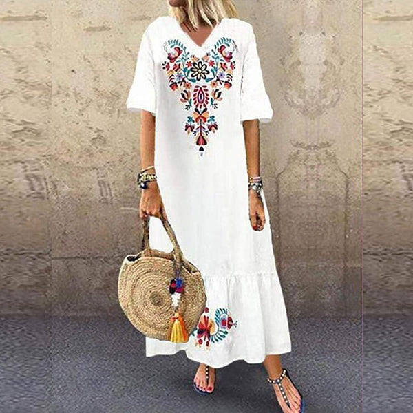 Fashion V Neck Short Sleeve Floral Print Boho Beach Dress dress