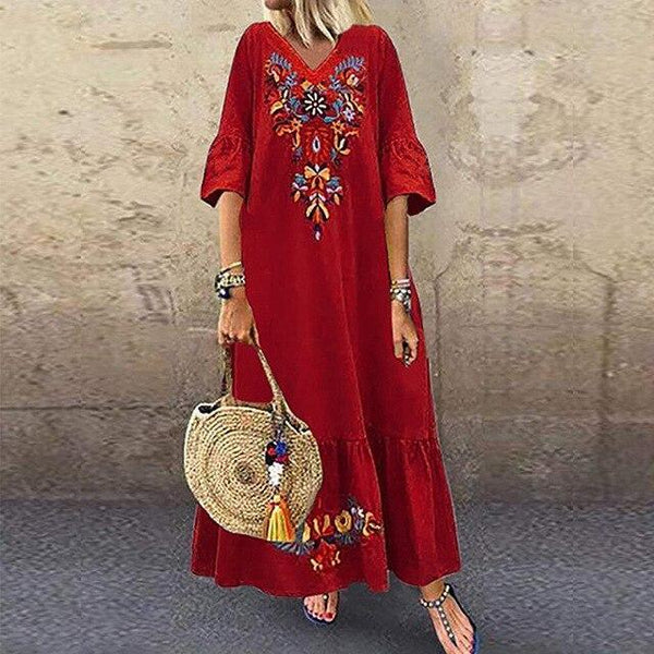 Fashion V Neck Short Sleeve Floral Print Boho Beach Dress dress Red 5XL