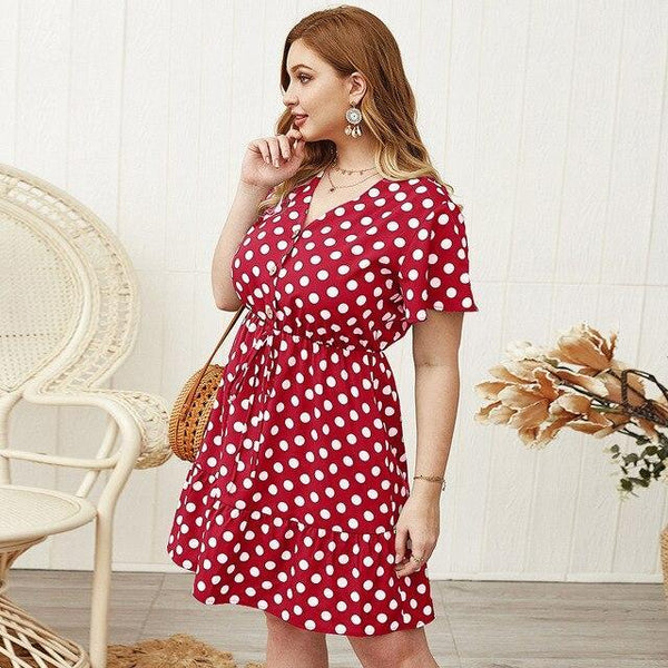 Fashion V Neck Short Sleeve Ruffles Dress dress Red XL