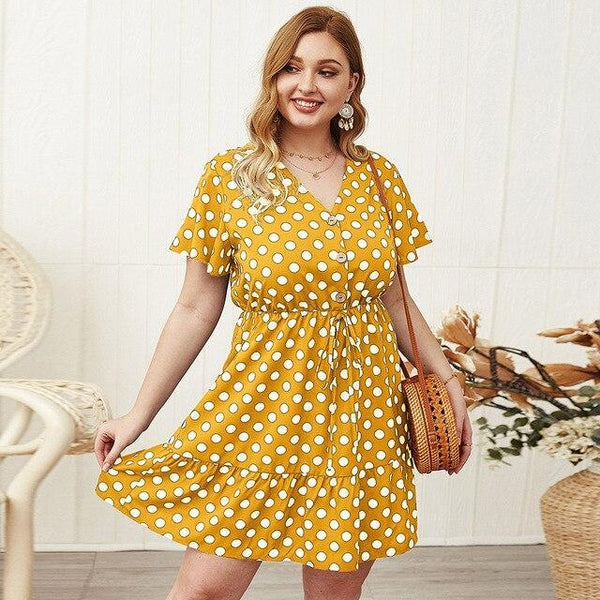 Fashion V Neck Short Sleeve Ruffles Dress dress Yellow 4XL
