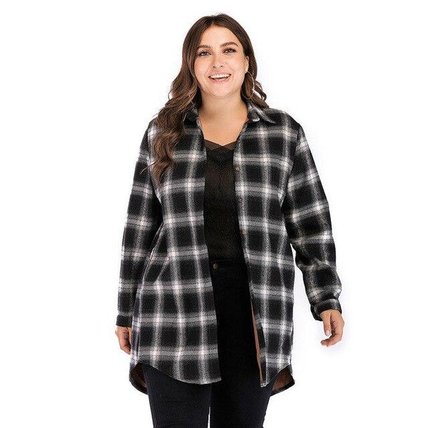 Fashion Winter Plaid Thick Warm Loose Coat coat Black 4XL