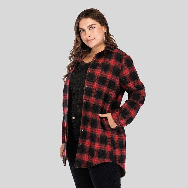Fashion Winter Plaid Thick Warm Loose Coat coat Red 5XL