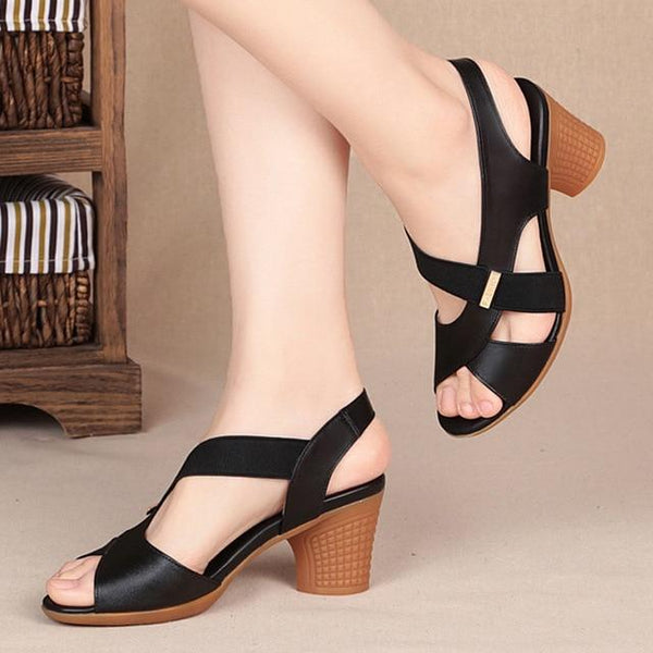 Fashion Women Mid Heel Shoes shoes Black 6.5