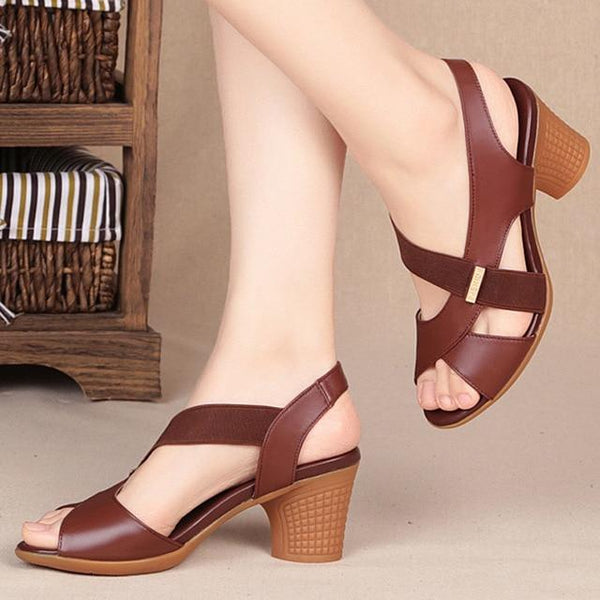Fashion Women Mid Heel Shoes shoes Brown 5