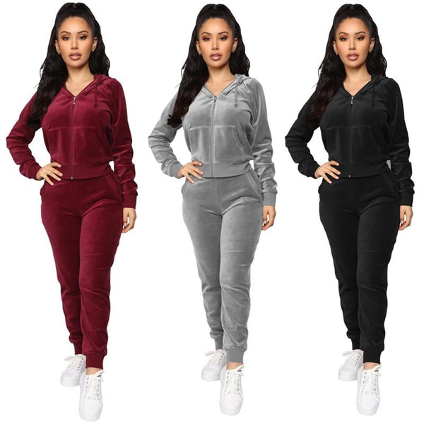 Fashionable velour two-piece Sweatsuits activewear
