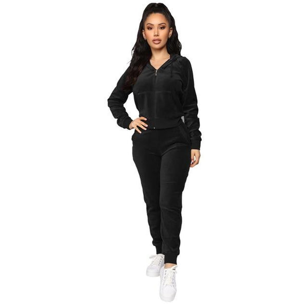 Fashionable velour two-piece Sweatsuits activewear Black S