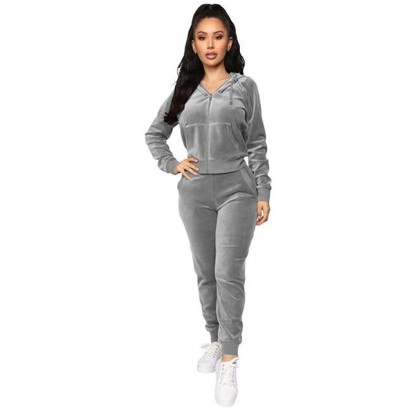 Fashionable velour two-piece Sweatsuits activewear Gray S