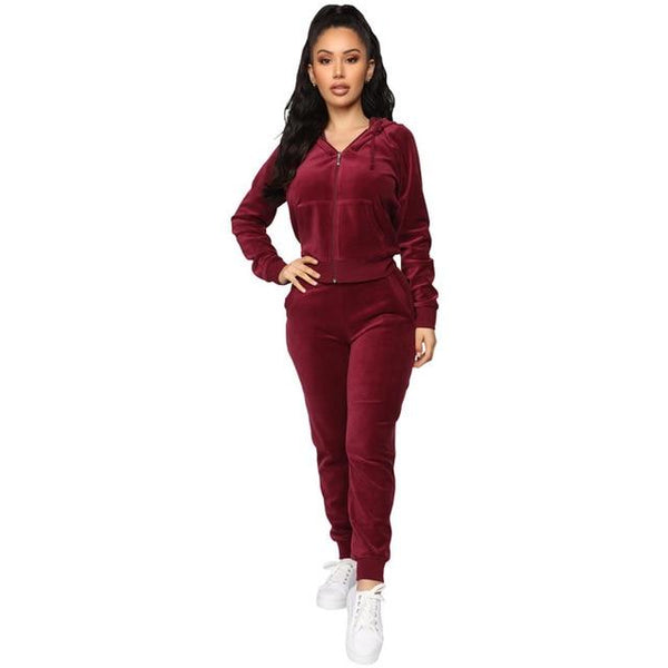 Fashionable velour two-piece Sweatsuits activewear wine red S