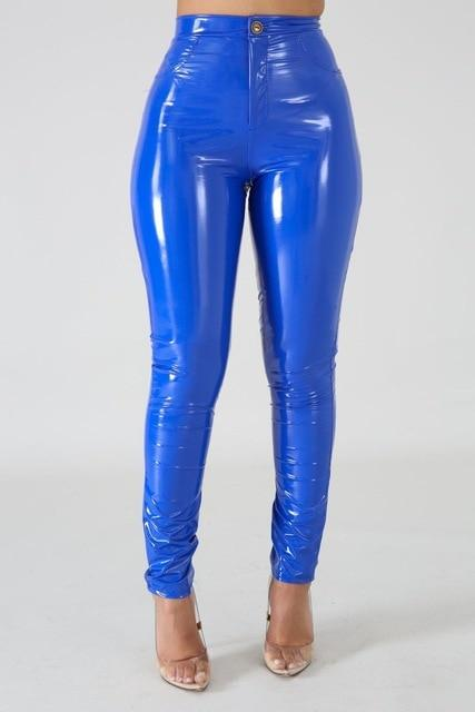 Faux Leather Skinny Pants Push-Up High-Waist Bottoms Blue XL