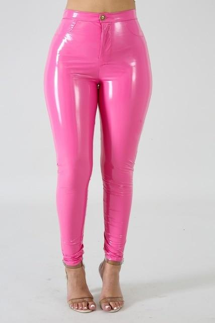Faux Leather Skinny Pants Push-Up High-Waist Bottoms Fuchsia M