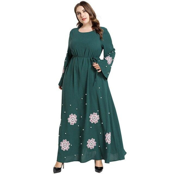Flare Long Sleeve Floral Elegant Party Dress dress green XXXL