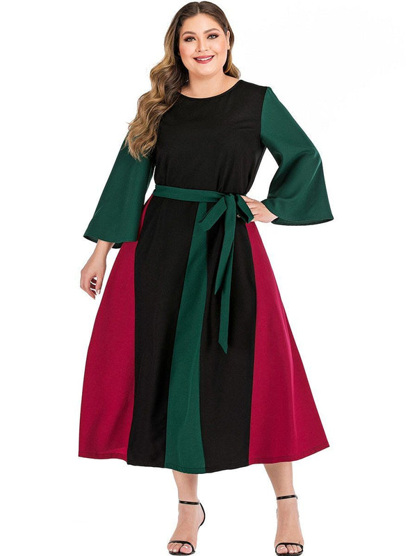 Flare Long Sleeve Patchwork Long Dress dress