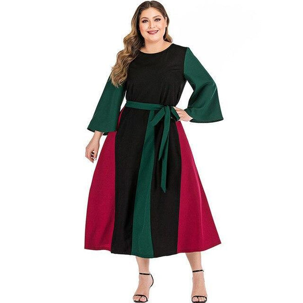 Flare Long Sleeve Patchwork Long Dress dress green L