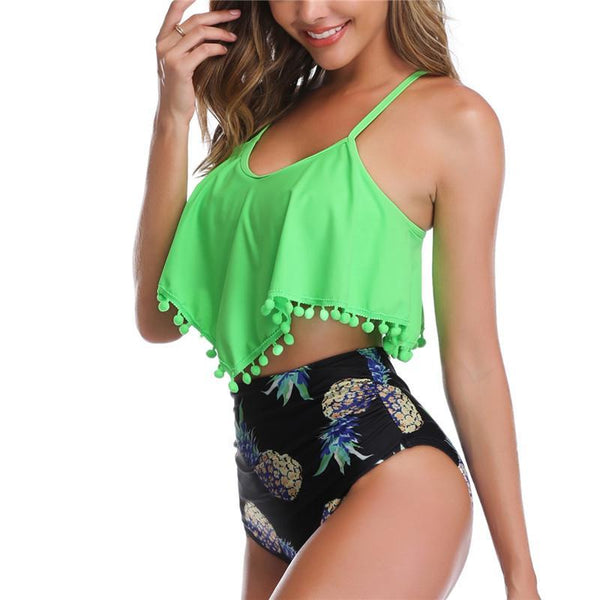 Floral High Waist Swimming Suit Swimsuit