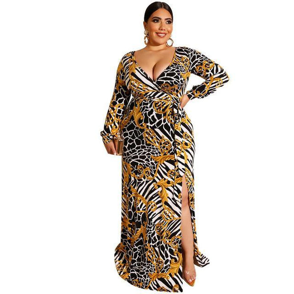 Floral Leopard V-Neck Long Sleeve Dress dress gold 4XL