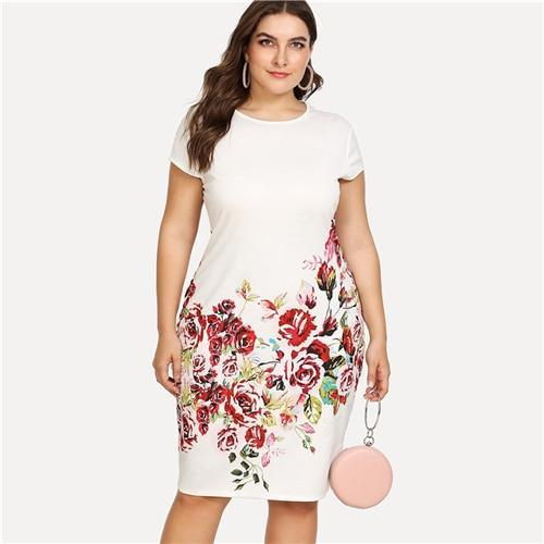 Floral Print Pencil Dress Summer Round Neck Short Cap Sleeve Dress Women White Plus Size Elegant Dress dress White L