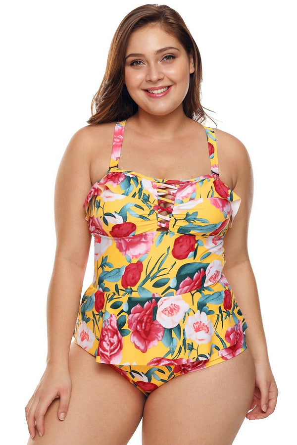 Floral Skirted Swimsuit Swimwear Multicolour M