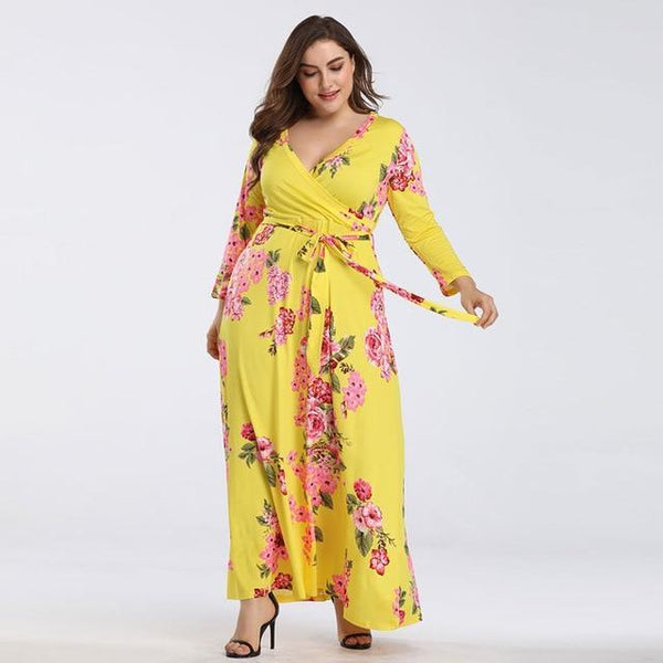 Floral Summer V Neck Long SleBoho Beach Dress Yellow XXL