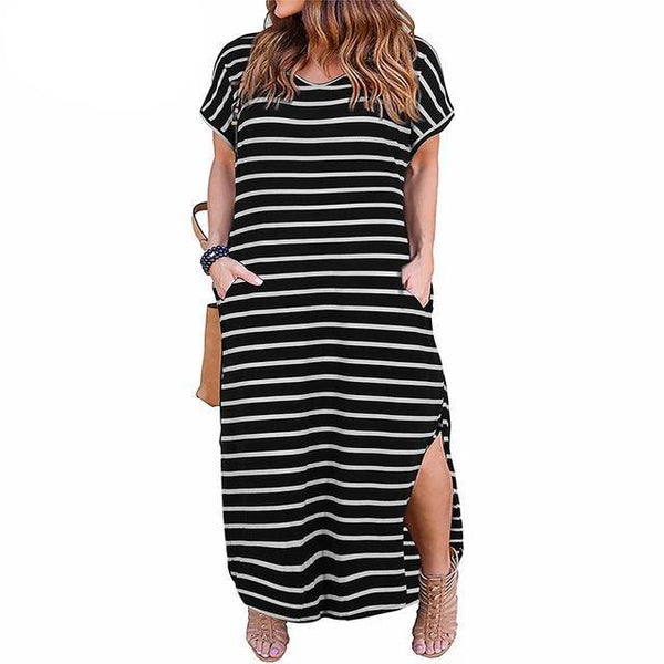 Front Pocket Loose Casual Black White Striped Dress