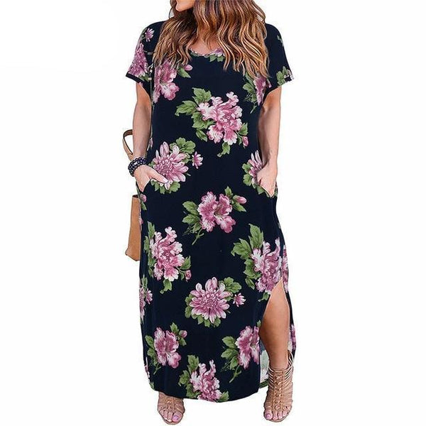 Front Pocket Loose Casual Floral Dress