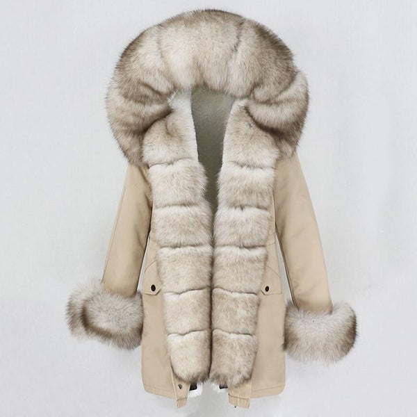 Fur hooded parka with muffs